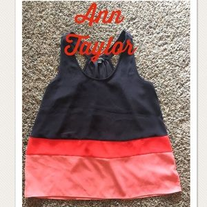 Ann Taylor Sz M Sleeveless Tank-Black,Orange,Peach